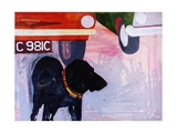 Dog at the Used Car Lot, Rex with Orange Car Giclee Print by Brenda Brin Booker
