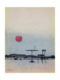 Displaced Red Wine from Glass on Outside Table Becomes the Setting Sun Giclee Print by George Adamson