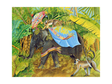 Elephant with Monkeys and Parasol, 2005 Giclee Print by E.B. Watts