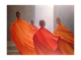 Four Monks on Temple Steps Giclee Print by Lincoln Seligman