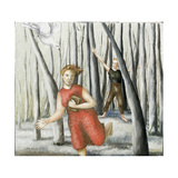 Winter Annunciation with Running Woman in Red, 2006 Giclee Print by Caroline Jennings
