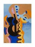 Black Guitar, 2009 Giclee Print by Jan Groneberg