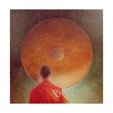 Young Monk with Gong Giclee Print by Lincoln Seligman