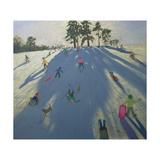 Skiing, Calke Abbey, Derby Giclee Print by Andrew Macara