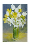 Daffodils and White Tulips in an Octagonal Glass Vase Giclee Print by Joan Thewsey