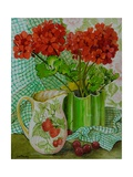 Red Geranium with the Strawberry Jug and Cherries Giclee Print by Joan Thewsey