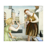 Rooftop Annunciation, 1 (Two Women) 2006 Giclee Print by Caroline Jennings