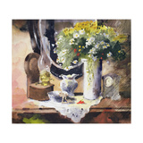 Still Life with Lamp and Flowers Giclee Print by John Lidzey