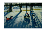 Boys Sledging, Allestree Park, Derby Giclee Print by Andrew Macara