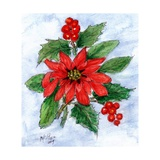 Poinsettia and Holly Giclee Print by Nell Hill