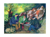 Cow Dealers Giclee Print by Lisa Graa Jensen