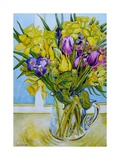 Daffodils and Tulips in a Glass Jug by a Window Giclee Print by Joan Thewsey
