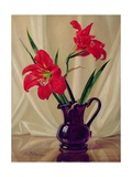 Amaryllis Lillies, in a Dark Glass Jug Giclee Print by Albert Williams