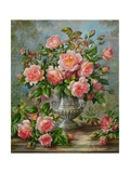 English Elegance Roses in a Silver Vase Giclee Print by Albert Williams