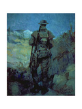 Canadian Sentry, Moonlight, Neuville-Vitesse, 1918 Giclee Print by Alfred Bastien