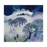 Snowy Night Giclée-tryk af Lisa Graa Jensen