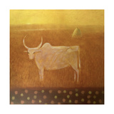 Cow and Haystack Giclee Print by Charlie Baird
