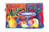 Red Tulips, Blue Irises, 2007 Giclee Print by Hilary Rosen