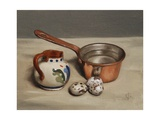 Jug, Copper Pan and Quail Eggs, 2009 Giclee Print by James Gillick