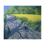 Cyclists and Yellow Field, Kedleston, Derby Giclee Print by Andrew Macara
