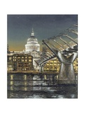 St Paul's and the Millennium Bridge, 2004 Giclee Print by Tom Young