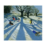 Winter Tree, Snow Sledgers, Calke Abbey, Derby Giclee Print by Andrew Macara