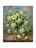 Princess Diana Roses in a Cut Glass Vase Giclee Print by Albert Williams