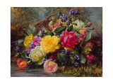 Roses by a Pond on a Grassy Bank Giclee Print by Albert Williams