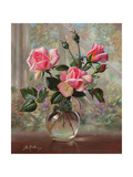 Madame Butterfly Roses in a Glass Vase Giclee Print by Albert Williams