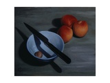 Bowl, Knife and Nectarines, 2009 Giclee Print by James Gillick