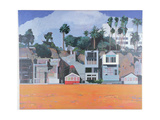 Houses under the Cliff, Santa Monica, USA, 2002 Giclee Print by Peter Wilson