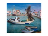 Fishing Boats in Porto San Stefano, 1976 Giclee Print by Bettina Shaw-Lawrence