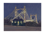 Albert Bridge - Night Giclee Print by Julian Barrow