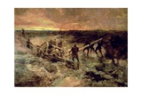 Canadian Gunners in the Mud, Passchendaele, 1917 Giclee Print by Alfred Bastien