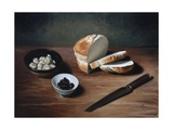Bread, Olives, Artichoke Hearts and Knife, 2009 Giclee Print by James Gillick