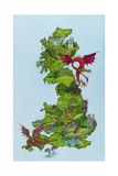 Dragon Map, 1986 Giclee Print by Wayne Anderson