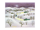 Winter Night, 1971 Giclee Print by Radi Nedelchev