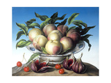 Peaches in Delft Bowl with Purple Figs Giclee Print by Amelia Kleiser