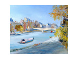 Barge Sailing Down the River Seine in Paris Giclee Print by Anne Durham