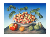 Cherries in Delft Bowl with Red and Yellow Apple Giclee Print by Amelia Kleiser