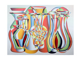 Luxate Vessel Assemblage, Green, Orange Giclee Print by Brian Irving