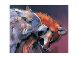 Two Wolves (Detail) Giclee Print by Mark Adlington
