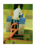 The Blue Tractor, 1984 Giclee Print by Reg Cartwright
