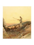 A Shepherd Counting His Sheep Giclee Print by Henry Andrew Harper