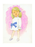 Little Girl with Bow, 1970s Giclee Print by George Adamson
