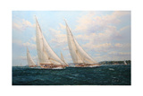 J Class Yachts Racing Off Cowes 1935 Giclee Print by John Sutton