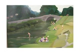 Riverside Picnic, 1989 Giclee Print by Maggie Rowe