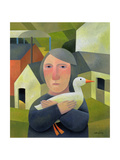 Woman with Duck, 1996 Giclee Print by Reg Cartwright