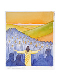 Great Crowds Followed Jesus as He Preached the Good News, 2004 Impressão giclée por Elizabeth Wang