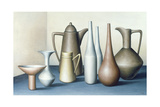Long Necked Bottles in Space with Terracotta Bowl Giclee Print by Brian Irving